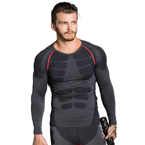 Hot Style Elastic Bodybuilding Apparel Customized Men Long Sleeve Compression Shirt