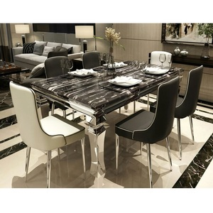 6 Seater Dining Table Top White/black Marble With Chair Stainless Steel Set