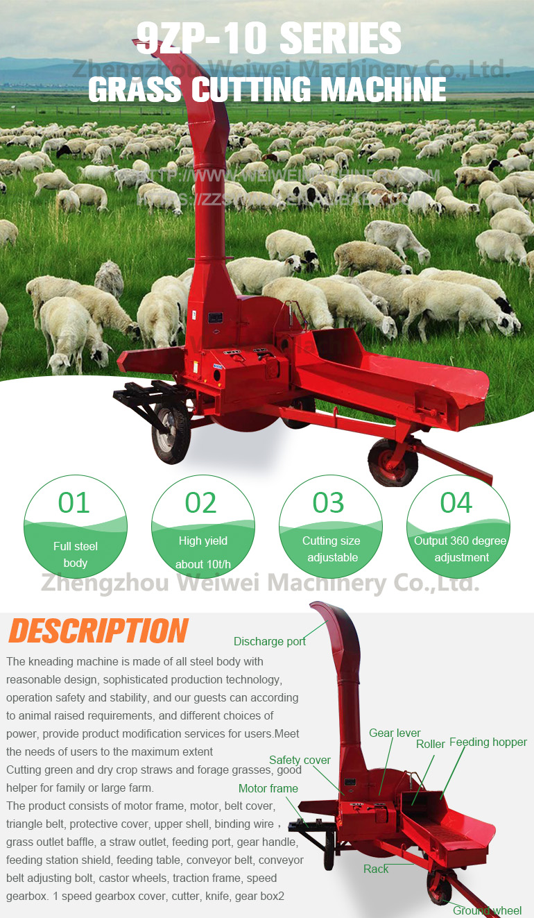 Weiwei agriculture farm silage hay chopper capacity 10tph high quality ensiling forage chopper ensilage with tractor driven