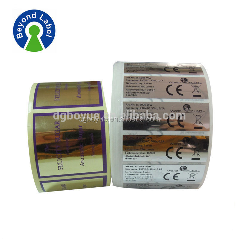 high quality matte surface silver or gold label, adhesive printing silver metallized paper