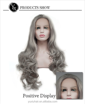 Ombre Grey 2 Tones Synthetic Lace Front Wig Dark Roots Long Natural