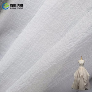 100% Polyester Organza Wrinking Fabric for bridal wedding fabric