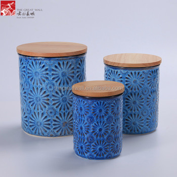 Kitchen Coffee Storage Jar Ceramic Wooden Lid Anese Tea Canister