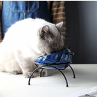 Pet products popular design colorful small cheap ceramic cat bowl with iron rack stand