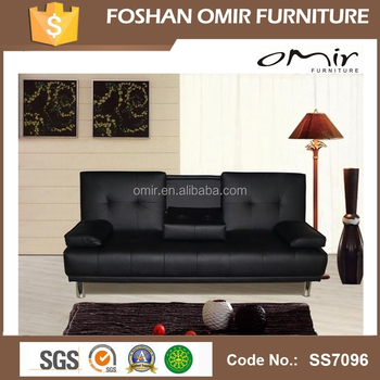 Faux Leather Sofa Bed With Chrome Legs