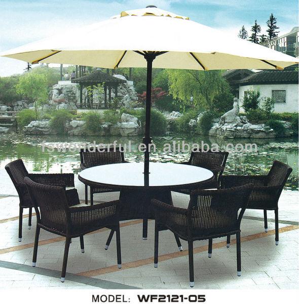 Wf2121 05 rattan conjunto de mesa ao ar livre com sombrinha mesas de jantar id do produto - Mesas de rattan ...