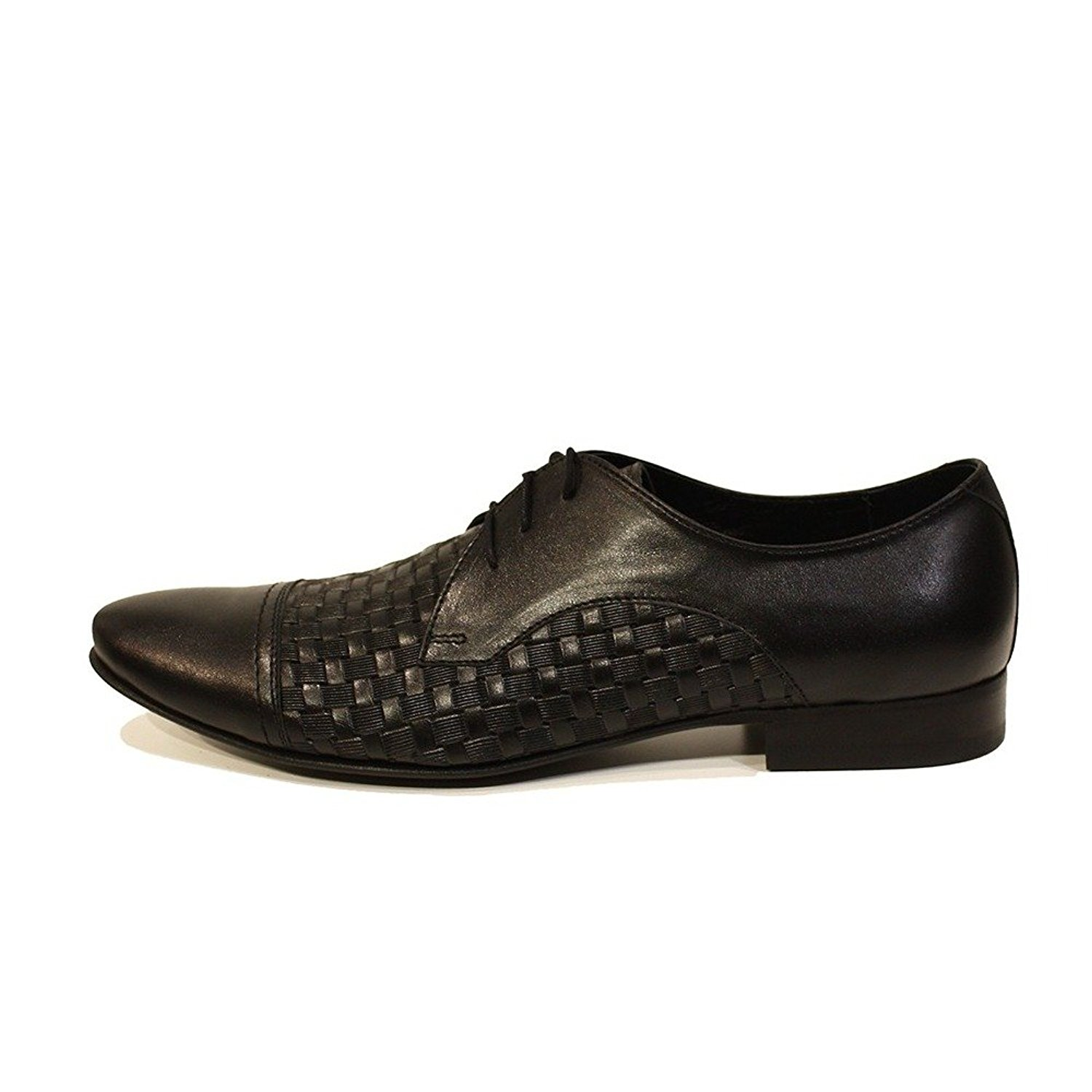 Modello Pascasio - Handmade Italian Mens Black Oxfords Dress Shoes - Cowhide Embossed Leather - Lace-up