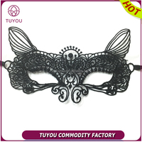 Black lace mask custom design mask fox party mask