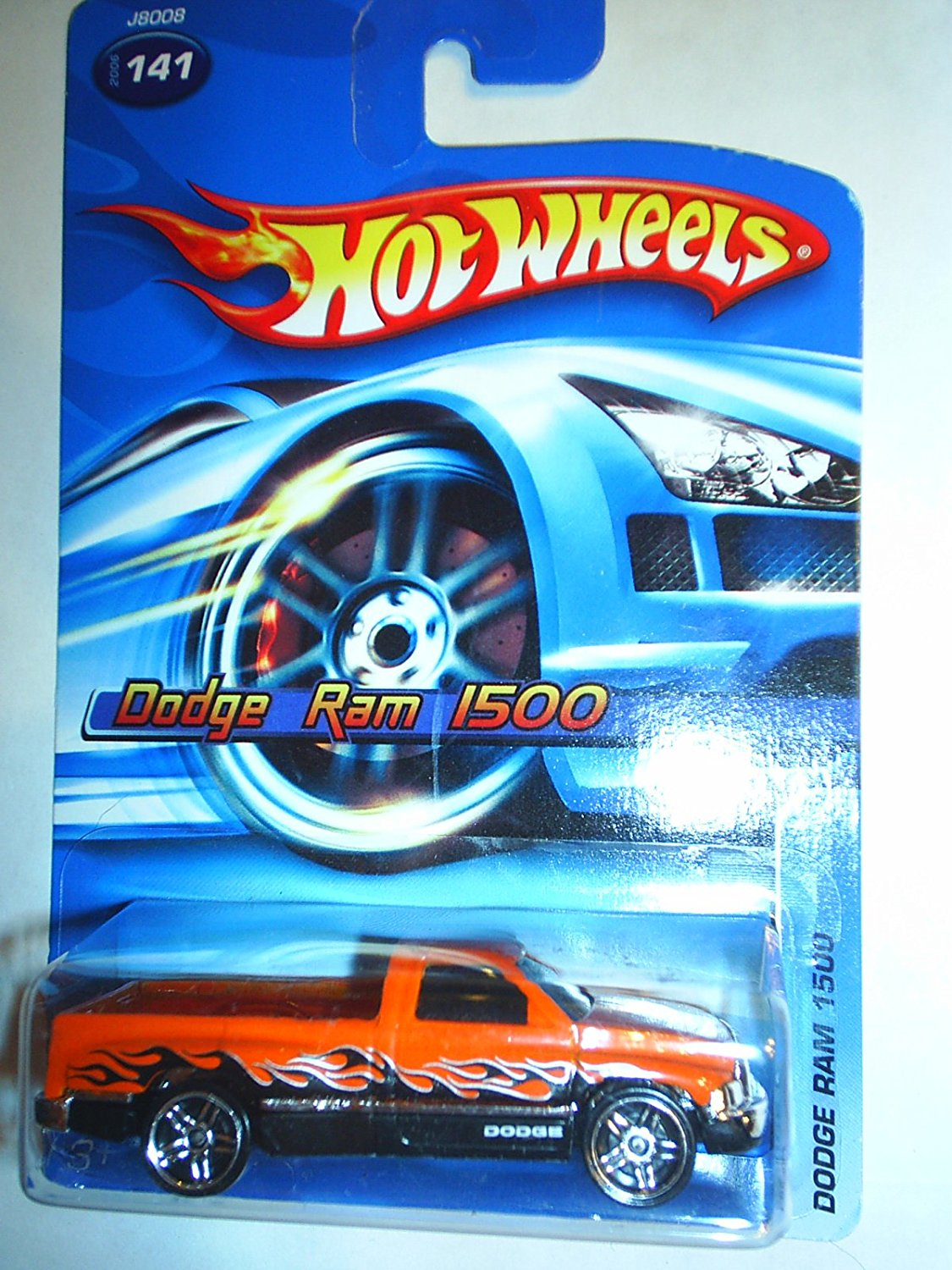Mattel Hot Wheels 2006 1:64 Scale Orange & Black Flamed Dodge Ram 1500 Die Cast Truck #141