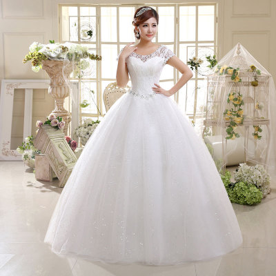 In Stock Red Bridal Wedding dress Ball Gown Sequins Cap Sleeves Lace Cheap Wedding Dresses made In China