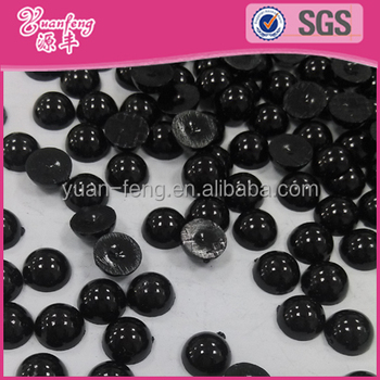 Latest design product black faux abs plastic pearls beads in bulk half cut pearls