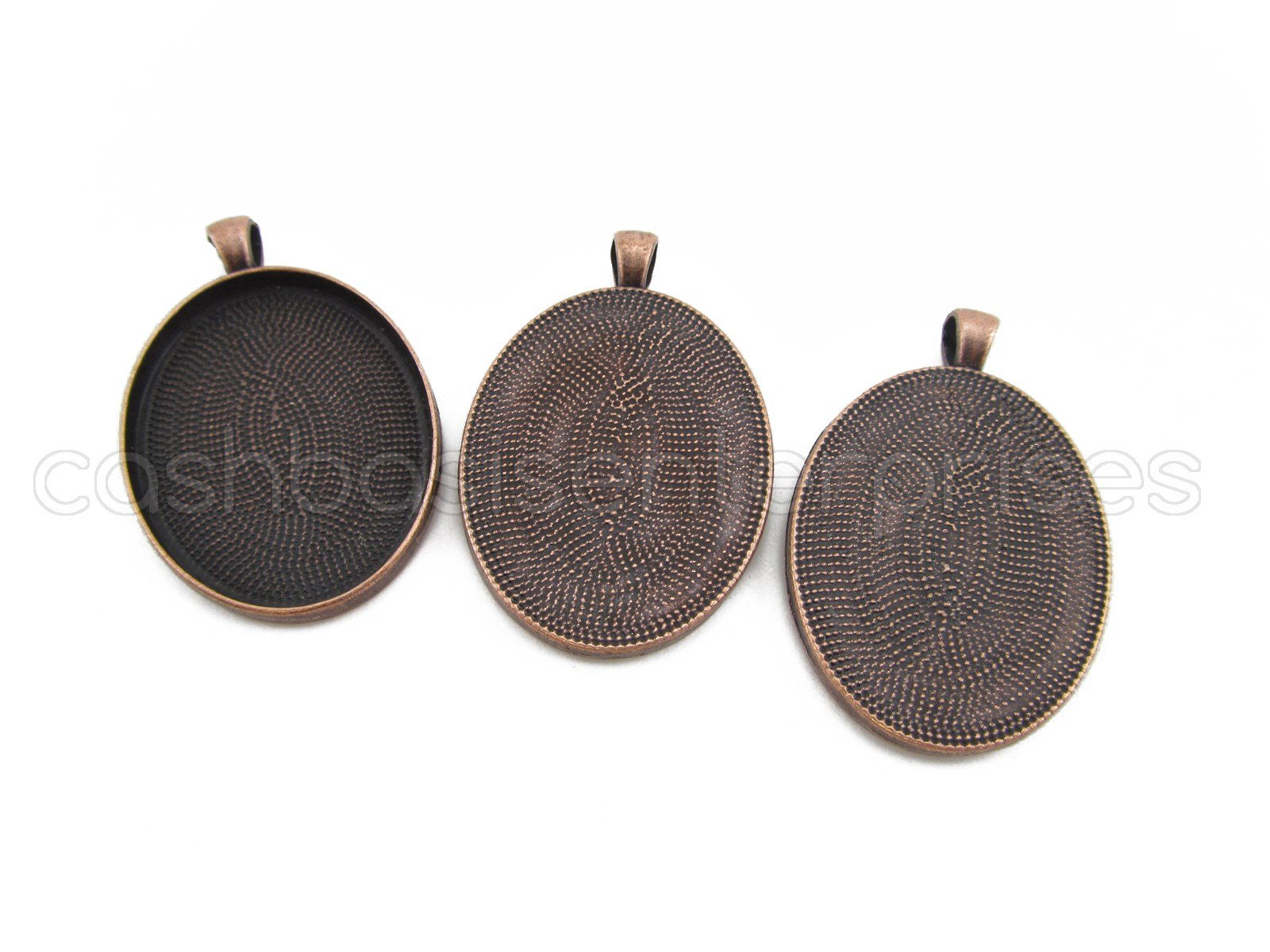 10 CleverDelights Oval Pendant Trays - Antique Copper Color - 30 x 40 mm - Pendant Blanks Cameo Bezel Cabochon Settings - 30x40mm