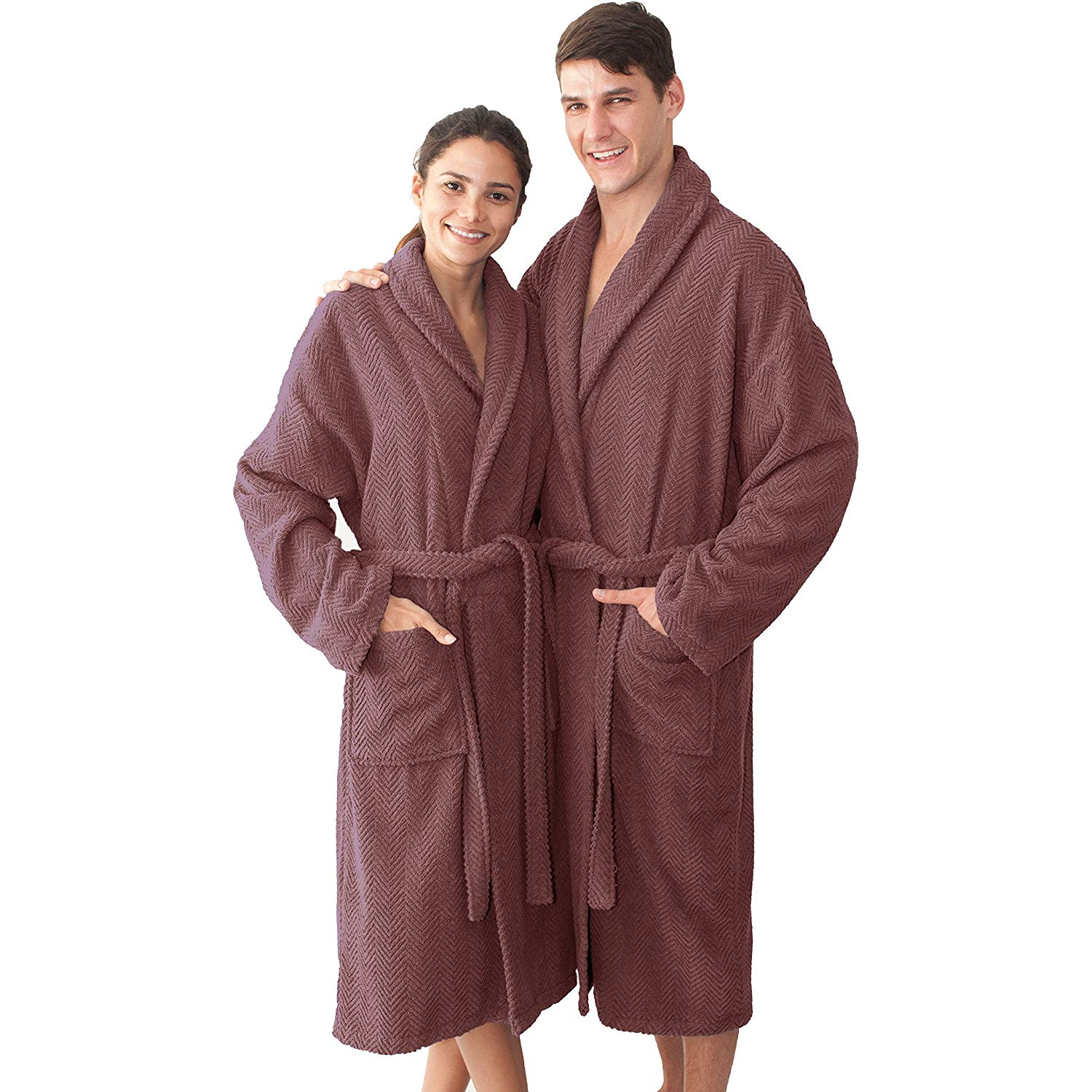 3db47684c5 Get Quotations · HT 46 Inches Plum Purple Solid Color Small Medium Unisex  Bathrobe