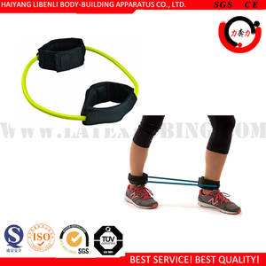 Leg Resistance Exercise Band Heavy Duty Tube with Padded Ankle Cuffs for Lower Body Workouts