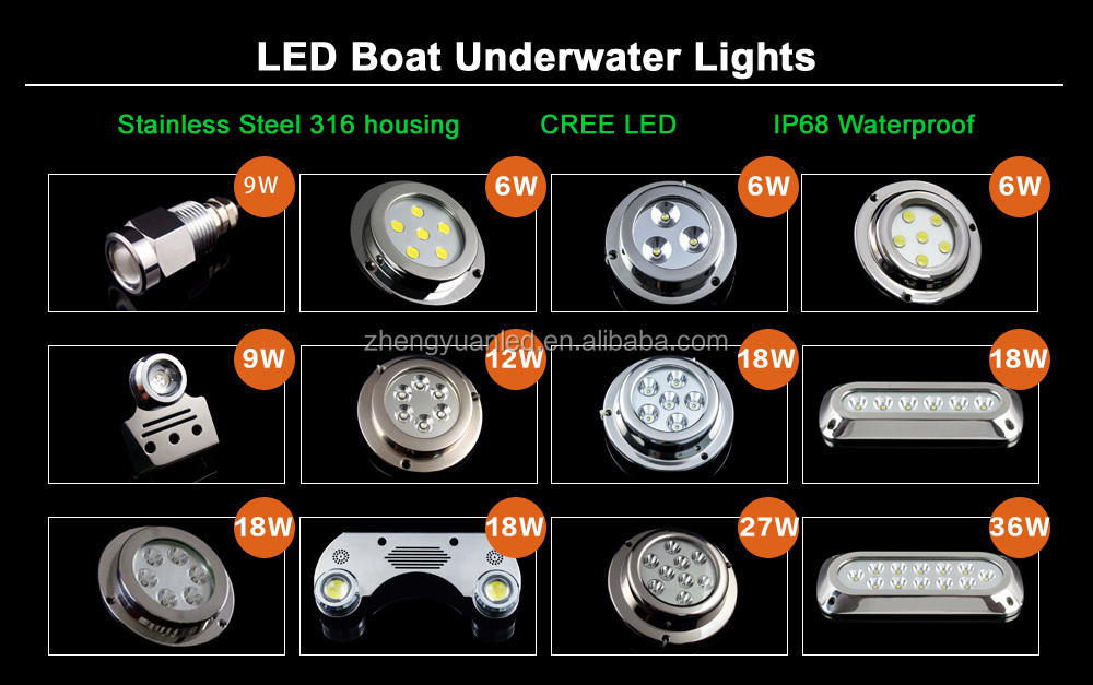 2020 Alibaba Best Seller Boat Accessories waterproof ip68 Stainless LED 36W led marine leds lights underwater