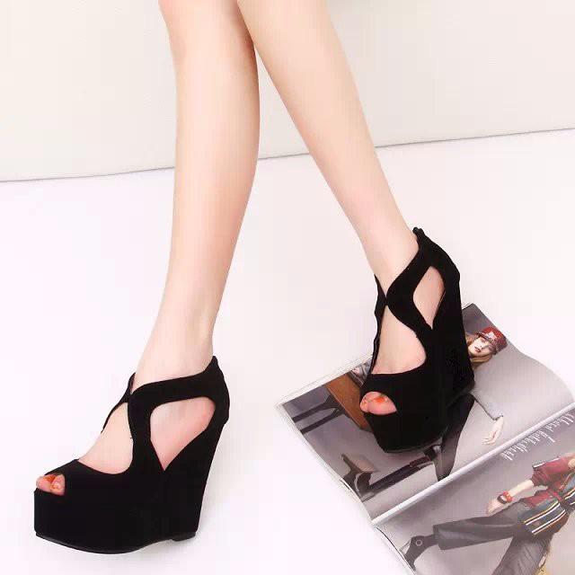 2015 FASHION Wedge High Heel Women Sandals Black Shoes Summer Fretwork Platform Sandal Gladiator Sandals Women sandalias LD53 (16)