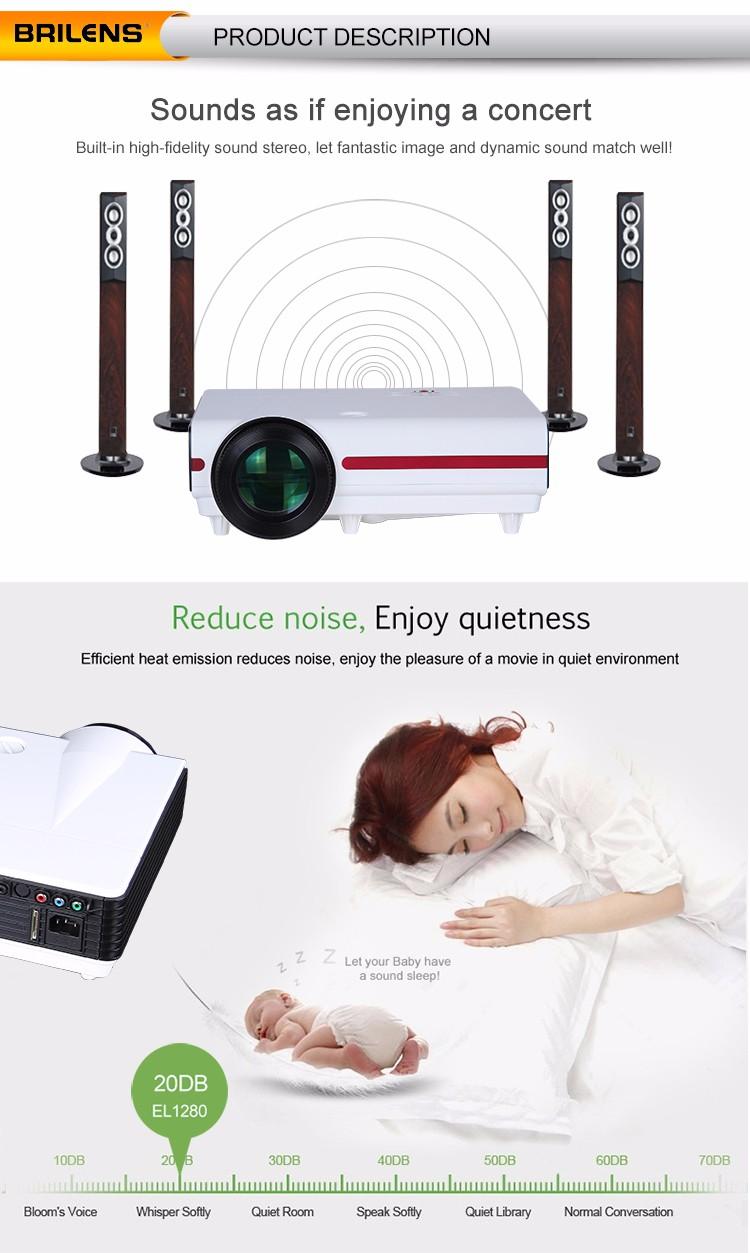 Brilens Susan Shi hot sale built-in android 4.2 wifi 1280x768 support red blue 3D native 720p LCD projector home theater