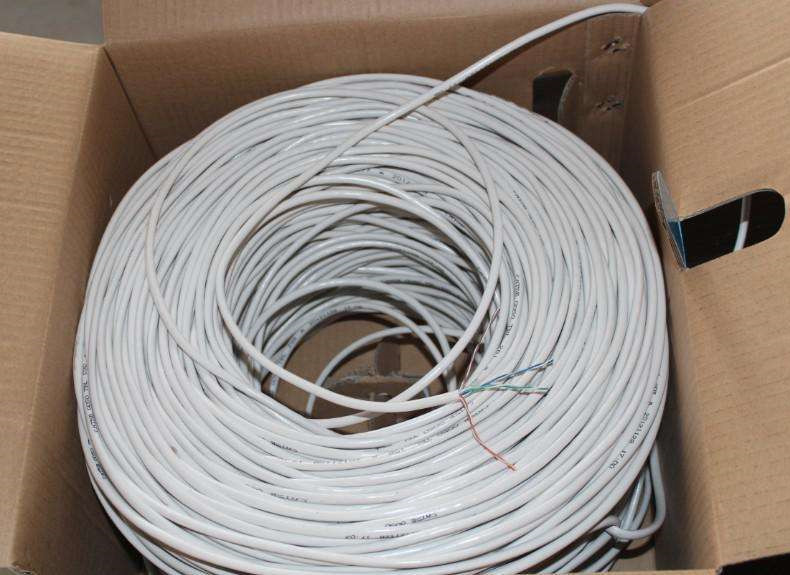 1000ft Cat5e Wit Effen 24AWG Kabel UTP Cat5 Netwerk Draad Unshielded