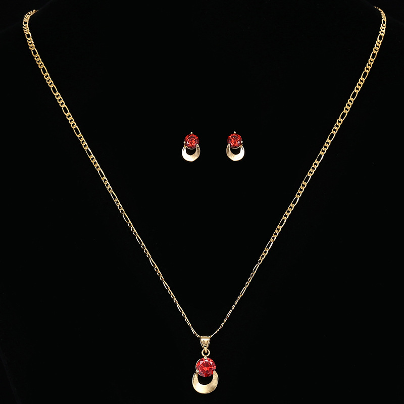 U shape Necklace and earring sets18 carat gold wedding jewelry sets bridal