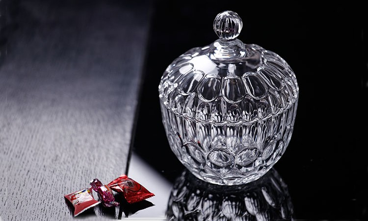 Crystal glass sugar bowl candy jar with glass lid