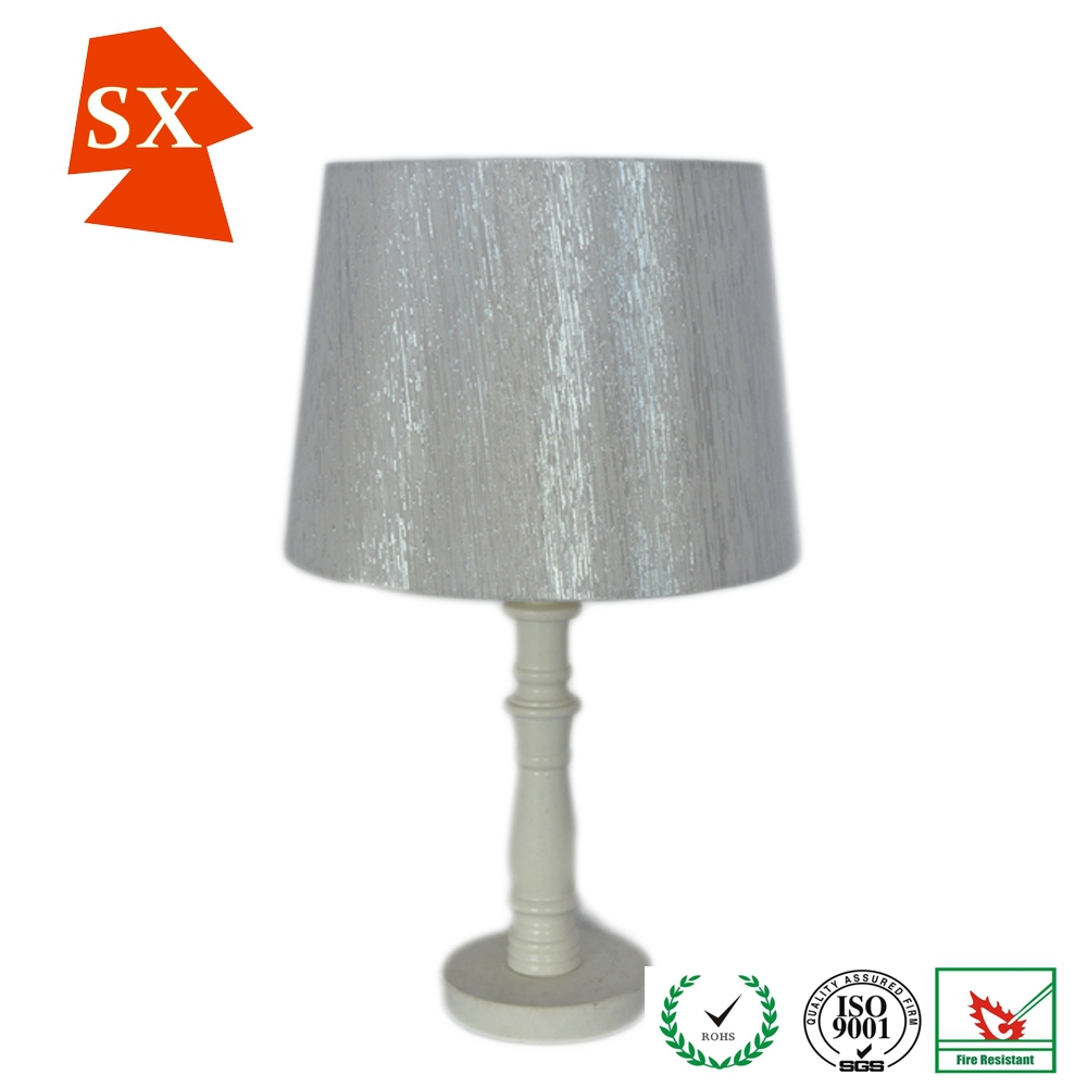 Beautiful fashional drum silver silk bedside table for Bedside table lamp shades