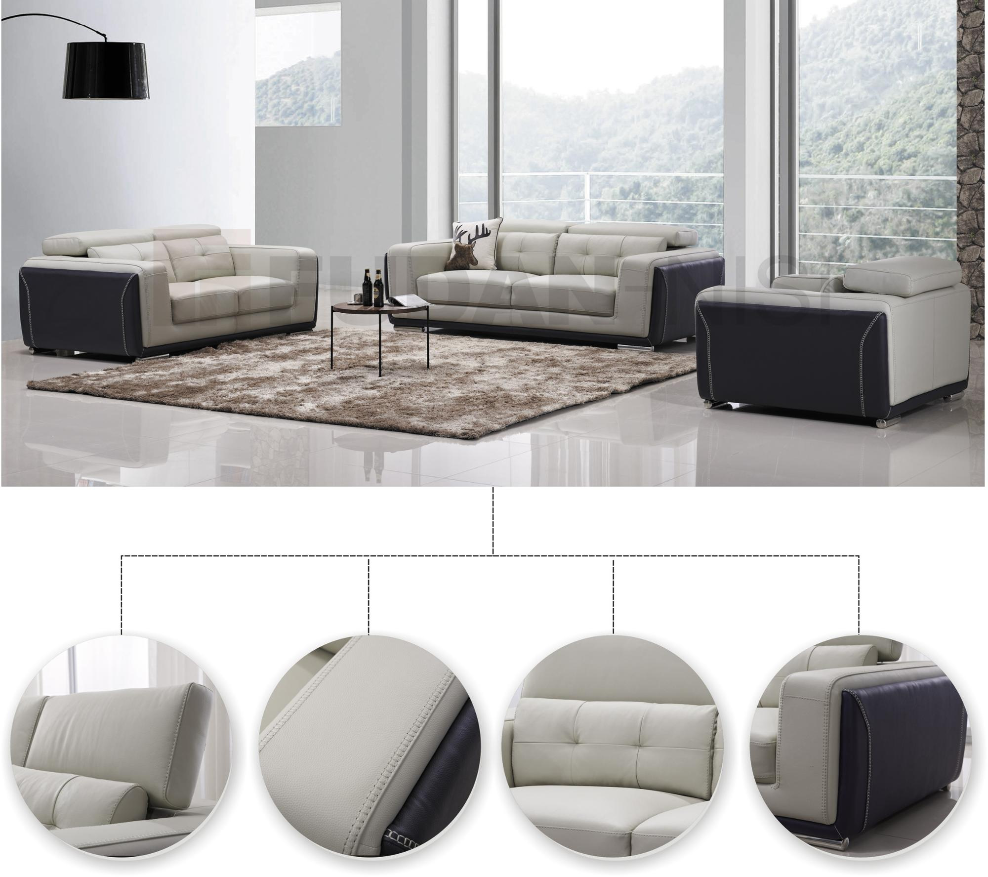 African Style Grey Leather Sofa Mixed