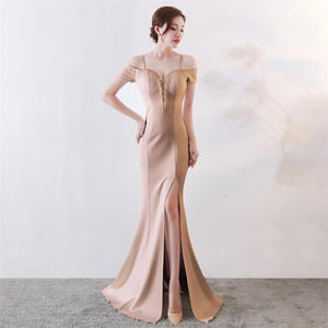 2019 latest 7 color cocktail party off shoulder spaghetti strap sexy beaded high split mermaid vestidos de fiesta prom gown