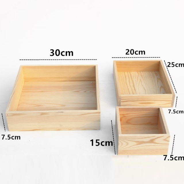 Customizable square wooden boxes of various sizes