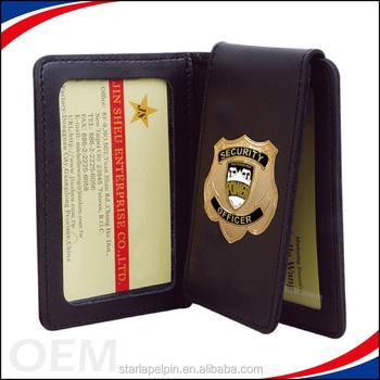 dd6c7f5866c1e Großhandelssicherheits-Bundesagent-Art-Abzeichen vertiefte lederne Polizei -Geldbörse