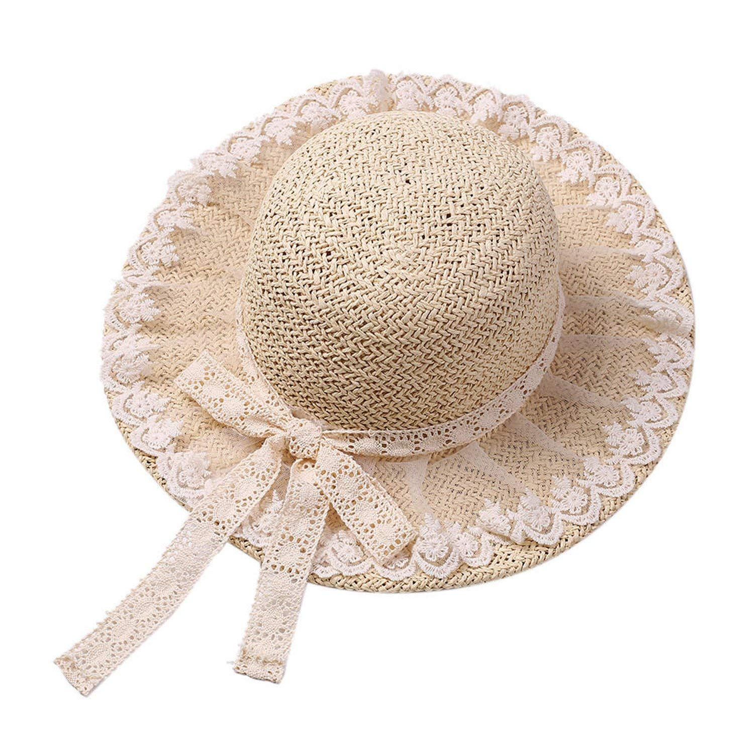 e388b5cbb71 Get Quotations · New Summer Women Floppy Straw Sun Hat with Lace Bow Big  Wide Brim Lace up Caps