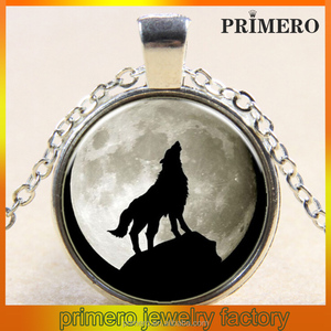 Wolf Totem Time gemstone pendant necklace Europe America new style pendant necklace silver-plated astonishing pendant