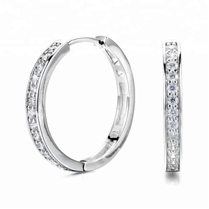 White Gold Plated Prong-setting Cubic Zirconia Earrings Brass Hoop Huggie Earrings