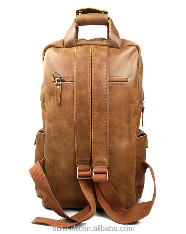 Custom vintage genuine leather dslr camera backpack factory ...