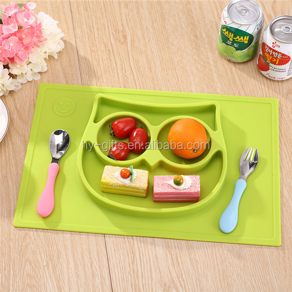 non slip one piece placemat fda silicone baby bowl plate mat