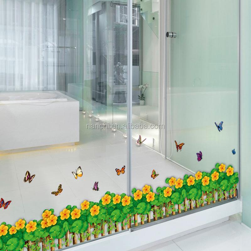 Papillon volant fleuron herbe bambou clôture stickers muraux salon ...