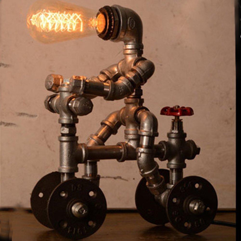 SOPHILAB Loft Retro Industrial Iron Table Stand Light Lamp Vintage Water Tube Steam Punk Metal Wheel Robot Desk Lamp Antique Desktop E27 LED Edison Nightstand Lamp Holder Bedroom Bedside Cafe (#A)