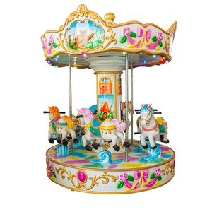 Outdoor small kids carousel cheap amusement park carousel horses rides for sale