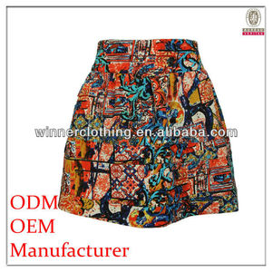 fashion garment factory A-Line flare western style printed pattern black yoke back girl's puffy skirt