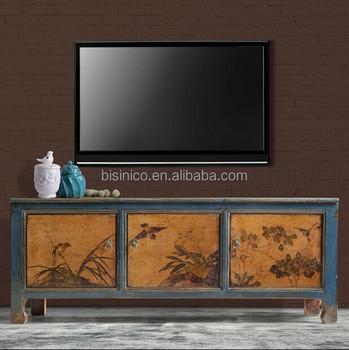 Style Chinois Meuble De Television En Bois De Salon Antique Decorative Peinture A La Main Table D Appoint Armoire Laterale Bf01 X1057 Buy