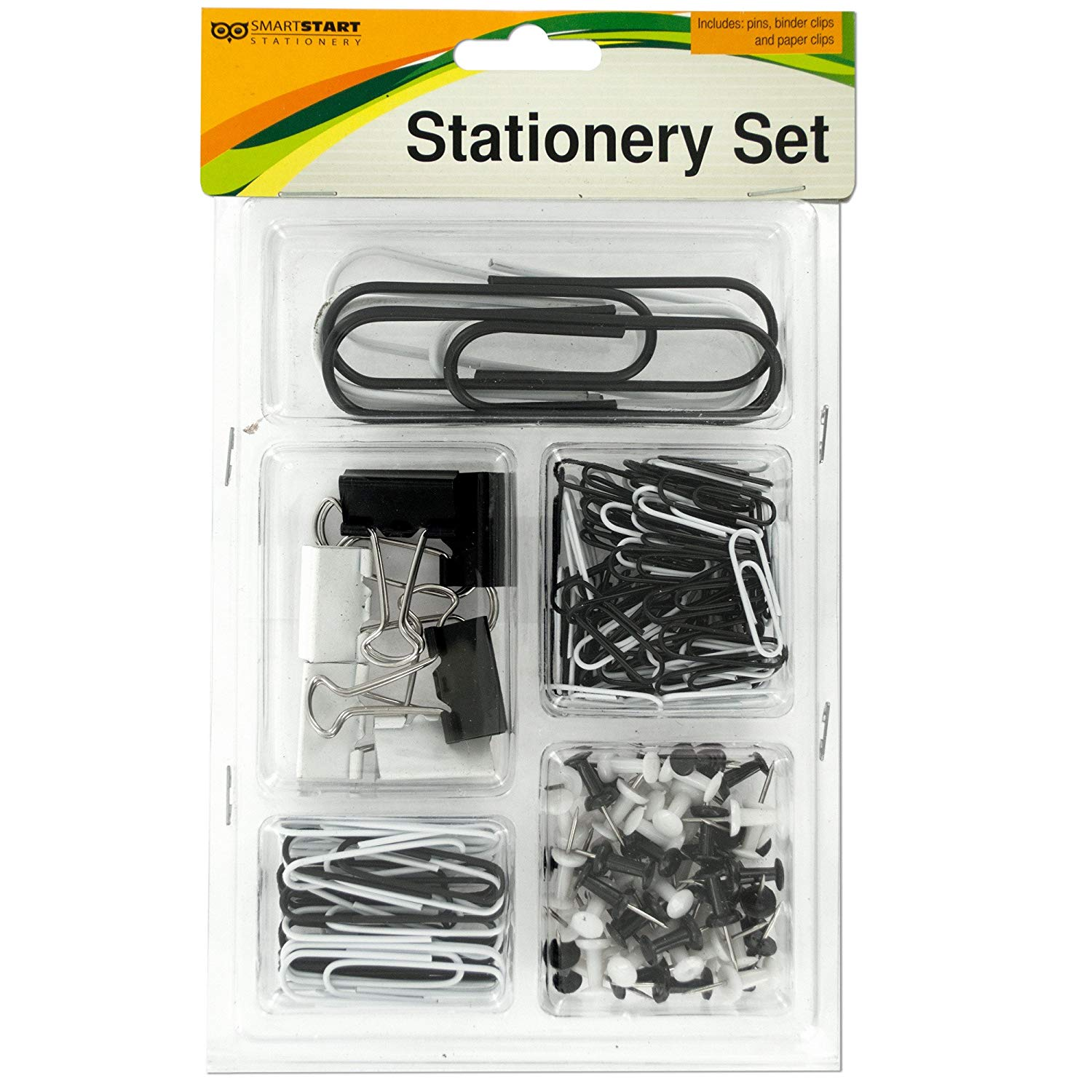 123-Wholesale - Set of 18 Push Pins & Clips Stationery Set - School & Office Supplies Paper Clips, Clamps & Punches