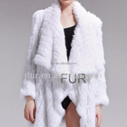 Hand Knitted Women Coat Genuine Print Rabbit Fur Jacket