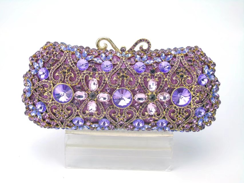 Newest lilac Evening Crystal Bag Golden Stones rhinestone Clutch Evening Bag Female Party Purse Wedding Clutch