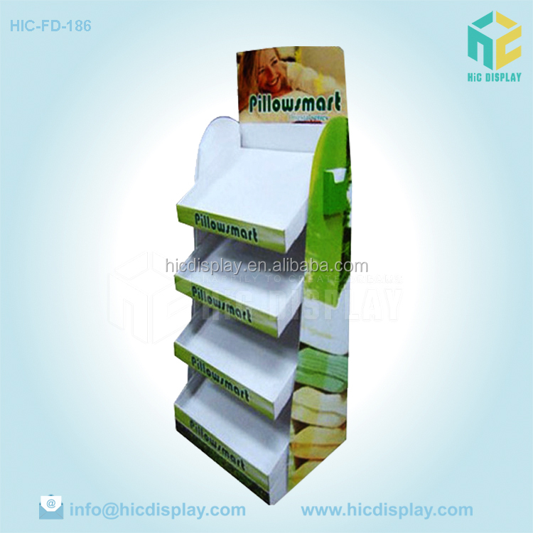 free sample cardboard pillow display shelf for retail