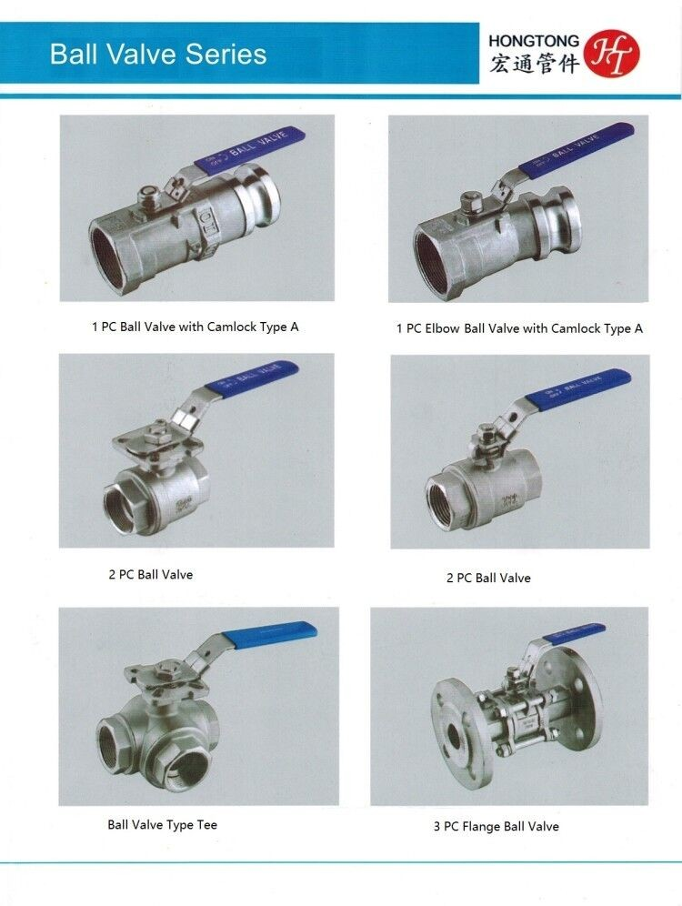 hongtong Factory Customized Stainless Steel Handle 2pc Ball Valve
