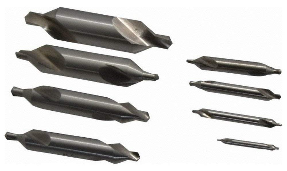 "8 Piece, 1 to 8, 1/8 to 3/4"" Body Diam, 3/64 to 5/16"" Point Diam, High Speed Steel Combo Drill & Countersink Set, 60 Incl Angle, 1/8 to 3-1/2"" OAL, Double End, 217 Series Compatibility 8 Piece Set"