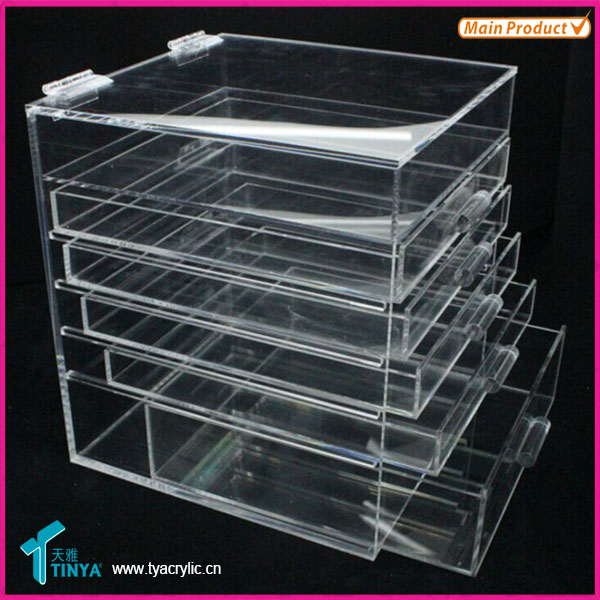 New Products Clear Glass Makeup Storage Cabinet Christmas Gifts Acrylic Cosmetic Storage Drawer Box Factory Wholesale