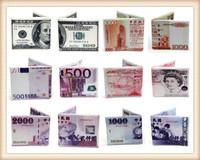 1pc Magic Light Canvas Money Pattern 200nis Dollar Bill card purse Wallet Men