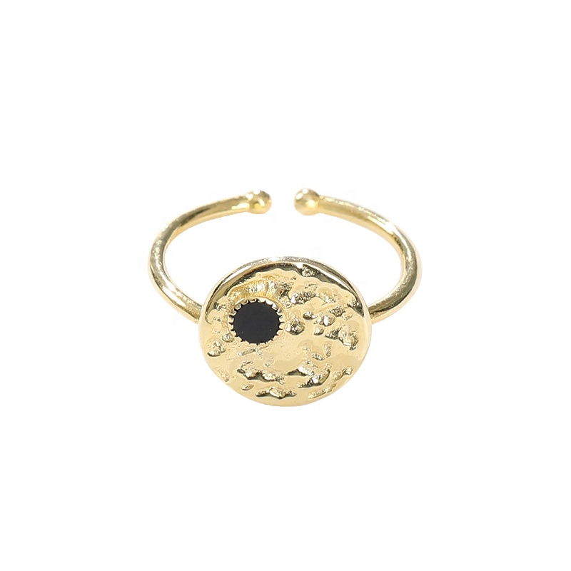 Dainty Opening Silver 925 Black Enamel 18K Gold Round Disc Coin Rings Coin Ladies Gold Finger Rings K777