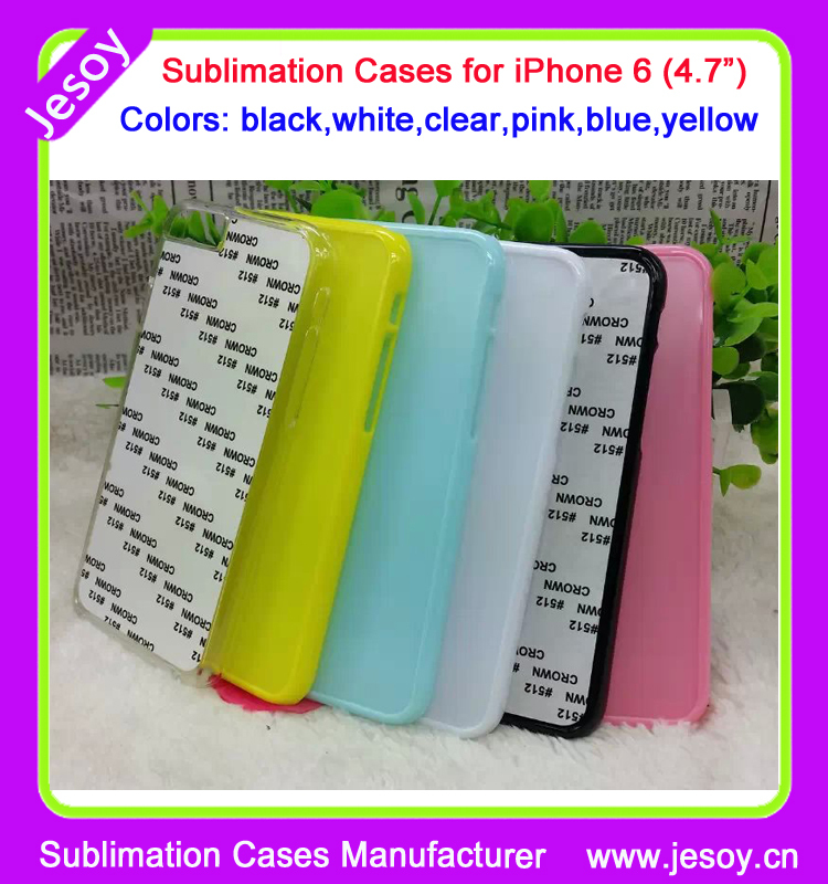 JESOY Hot Selling 2D Sublimation Phone Cases For iPhone 6 Sublimation PC Cases for iPhone 6S With Aluminum Insert