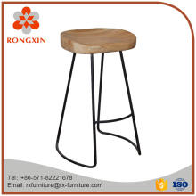 Retro wood top and chrome metal industrial iron bar stool